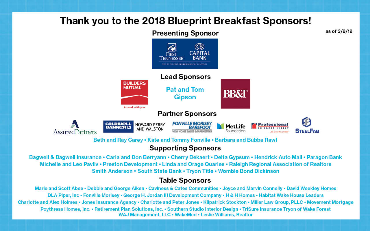 Blueprint breakfast habitat for humanity wake county 2018 breakfast sponsors malvernweather