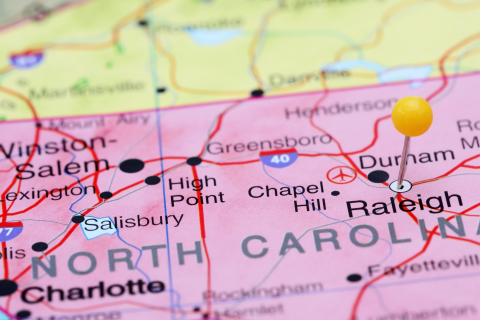 map of North Carolina with Raleigh pinned