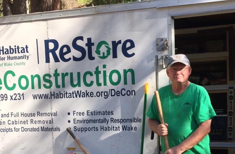 Bennie Collins volunteers with Habitat Wake