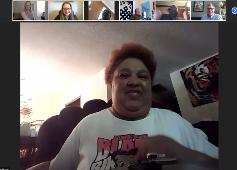Homebuyer Nancy on a zoom call with the faith group working on her house